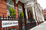 Terraced period properties on the northern side of Cadogan Square, SW!, on 24th July 2020, in London, England. Cadogan Square (1888) sometimes referred to as 'Cadogan Gardens' is in Knightsbridge, west London and named after Earl Cadogan. Whilst it is mainly a residential area, some of the properties are used for diplomatic and educational purposes.