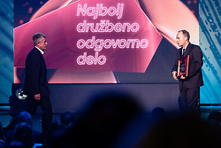 Jernej Zavrsnik and Drago Cotar president of NK Maribor during SPINS XI Nogometna Gala 2019 event when presented best football players of Prva liga Telekom Slovenije in season 2018/19, on May 19, 2019 in Slovene National Theatre Opera and Ballet Ljubljana, Slovenia. Photo by Grega Valancic / Sportida.com