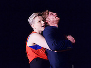 How to Hold Your Breath<br /> by Zinnie Harris <br /> directed by Vicky Featherstone<br /> at The Royal Court Theatre, London, Great Britain <br /> press photocall<br /> 9th February 2015 <br /> <br /> Maxine Peake as Dana<br /> <br /> <br /> Michael Shaeffer as Jarron <br /> <br /> Photograph by Elliott Franks <br /> Image licensed to Elliott Franks Photography Services