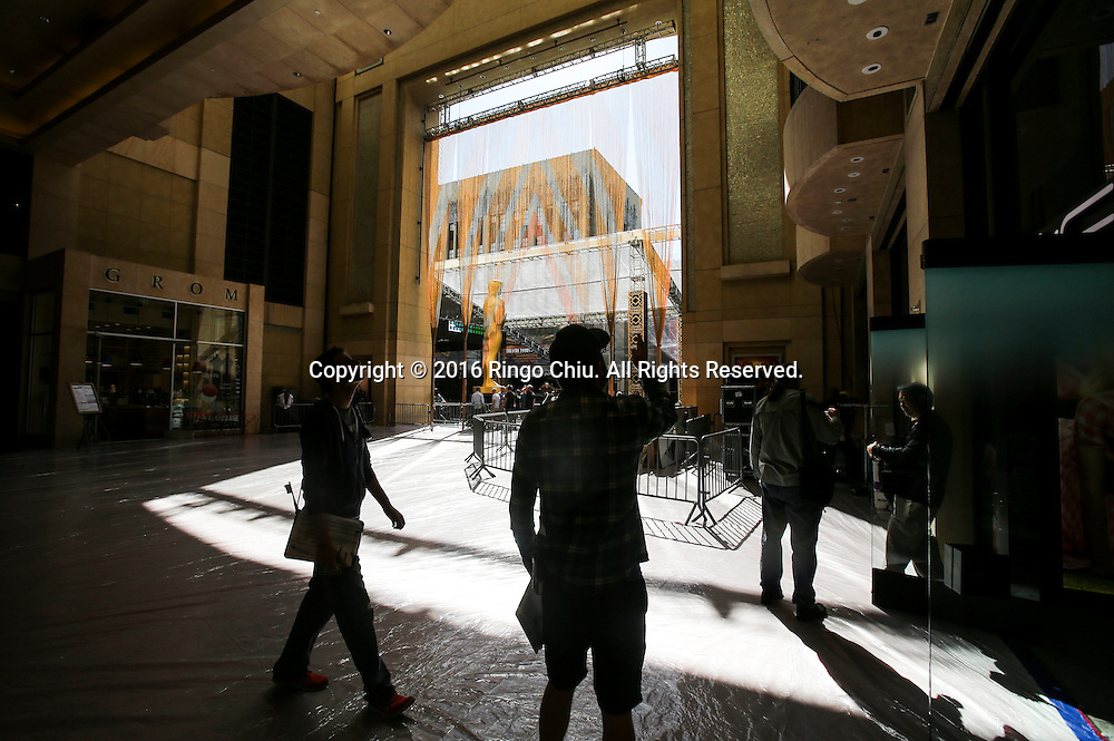 Crew members work on the arrivals area for the Oscars in front of the Dolby Theatre in Los Angeles, Wednesday, February 24, 2016. The 88th Academy Awards will be held Sunday, February 28, 2016. (Photo by Ringo Chiu/PHOTOFORMULA.com)<br /> <br /> Usage Notes: This content is intended for editorial use only. For other uses, additional clearances may be required.