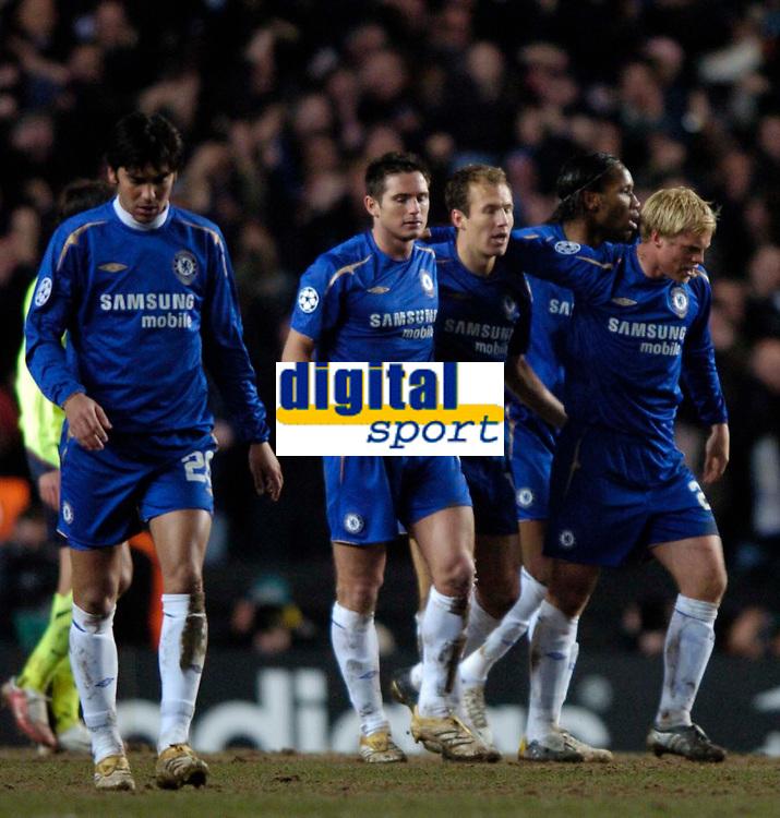 Photo: Richard Lane.<br />Chelsea v Barcelona. UEFA Champions League. 22/02/2006.<br />Chelsea celebrate an own goal by Thioago Motta.