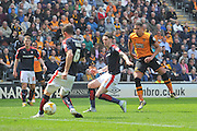 Hull City midfielder Jake Livermore (14) scores goal to go 5-1 up  during the Sky Bet Championship match between Hull City and Rotherham United at the KC Stadium, Kingston upon Hull, England on 7 May 2016. Photo by Ian Lyall.