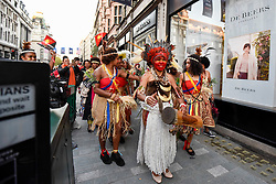 "© Licensed to London News Pictures. 24/09/2018. LONDON, UK.  Members of Ngati Ranana, the London Maori Club, take part in a ceremonial procession and blessing ceremony for the forthcoming ""Oceania"" exhibition at the Royal Academy of Arts.  The exhibition runs 29 September – 10 December 2018, representing the art of Melanesia, Micronesia and Polynesia, encompassing the vast Pacific region from New Guinea to Easter Island, Hawaii to New Zealand.  Photo credit: Stephen Chung/LNP"