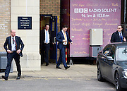 © Licensed to London News Pictures. 25/02/2013. Eastleigh, UK Liberal Democrat Leader and Deputy Prime Minister, Nick Clegg, is seen leaving through a back door after giving a difficult radio interview about allegations of sexual misconduct be a senior member of his party. Campaigning in the weeks ahead of The Liberal Democrats winning the Eastleigh by-election, with the UK Independence Party pushing the Conservatives into third place.. Photo credit : Stephen Simpson/LNP