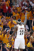 Cleveland Cavaliers forward LeBron James during the fourth quarter the first game of the NBA Eastern Conference playoffs at the Quicken Loans Arena in Cleveland, Ohio, USA,19 April 2008.