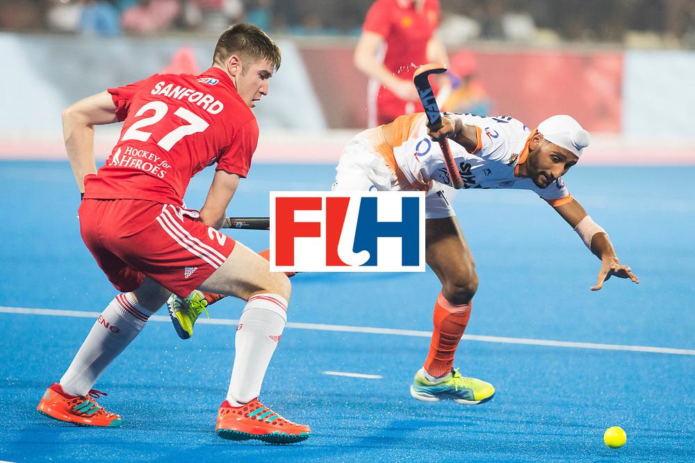 BHUBANESWAR - The Odisha Men's Hockey World League Final . Match ID 06 . India v England. Liam Sanford (Eng) with Mandeep Singh (Ind)    WORLDSPORTPICS COPYRIGHT  KOEN SUYK
