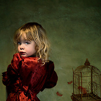 A young girl wearing a red dress looking back at the camera next to a bird cage