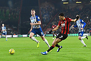 Dominic Solanke (9) of AFC Bournemouth crosses the ball during the Premier League match between Bournemouth and Brighton and Hove Albion at the Vitality Stadium, Bournemouth, England on 21 January 2020.