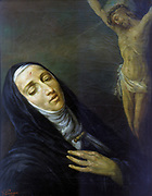 St Rita de Cascia (active 1457). Patron saint of loneliness and spouse abuse. Anonymous 19th century painting. Church of St Maria del Giglio, Venice.