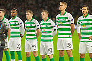 Boli Bolingoli James Forrest Callum McGregor Kristoffer Ajer & Hatem Elhamed during the Europa League match between Celtic and CFR Cluj at Celtic Park, Glasgow, Scotland on 3 October 2019.