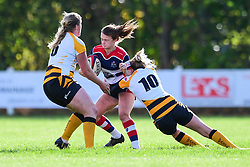 Cat McNaney of Bristol Ladies  is tackled by Tina Veale of Wasps Ladies - Mandatory by-line: Craig Thomas/JMP - 28/10/2017 - RUGBY - Cleve RFC - Bristol, England - Bristol Ladies v Wasps Ladies - Tyrrells Premier 15s