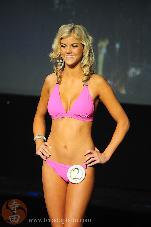 "November 22, 2009; Rancho Mirage, CA, USA; Miss Temecula Teen USA Kelsey Hutchison poses in her swimsuit during the top 15 second round of the Miss California Teen USA 2010 Pageant at ""The Show"" at the Agua Caliente Resort & Spa. Mandatory Credit: Kyle Terada-Terada Photo"