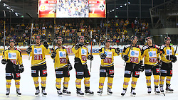 28.09.2014, Albert Schultz Eishalle, Wien, AUT, EBEL, UPC Vienna Capitals vs EC VSV, 6. Runde, im Bild Jubel nach dem Sieg, v.l. Sascha Bauer (UPC Vienna Capitals), Mario Fischer (UPC Vienna Capitals), Michael Schiechl (UPC Vienna Capitals), Jonathan Ferland (UPC Vienna Capitals), Kevin Puschnik (UPC Vienna Capitals), Florian Iberer (UPC Vienna Capitals), Patrick Peter (UPC Vienna Capitals) und Markus Schlacher (UPC Vienna Capitals) // during the Erste Bank Icehockey League 6th Round match between UPC Vienna Capitals and EC VSV at the Albert Schultz Ice Arena, Vienna, Austria on 2014/09/28. EXPA Pictures © 2014, PhotoCredit: EXPA/ Thomas Haumer