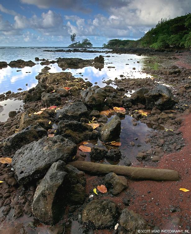 Rocks on the shorelines with a view if Alau Island, Hana, Maui, Hawaii