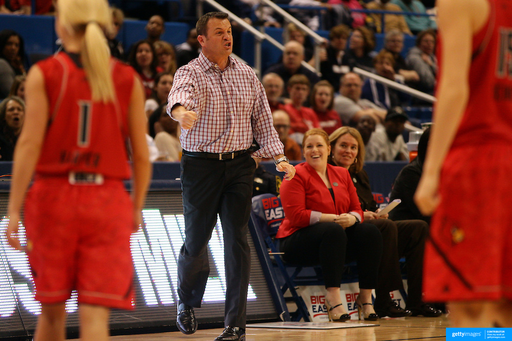 Jeff Walz, Louisville Head Coach, in action during the Notre Dame Fighting Irish V Louisville Cardinals Semi Final match during the Big East Conference, 2013 Women's Basketball Championships at the XL Center, Hartford, Connecticut, USA. 11th March. Photo Tim Clayton