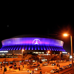 January 3, 2012; New Orleans, LA, USA; A night time general view outside for the Sugar Bowl between the Michigan Wolverines and the Virginia Tech Hokies at the Mercedes-Benz Superdome.  Mandatory Credit: Derick E. Hingle-US PRESSWIRE