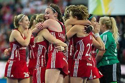 England players hug after beating The Netherlands. England v The Netherlands - Final Unibet EuroHockey Championships, Lee Valley Hockey & Tennis Centre, London, UK on 30 August 2015. Photo: Simon Parker