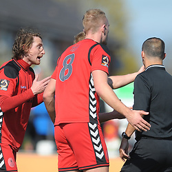 TELFORD COPYRIGHT MIKE SHERIDAN 6/4/2019 - James McQuilkin of AFC Telford (left) leads the protests after Dan Udoh of AFC Telford is brought down inside the box during the Vanarama Conference North fixture between Chorley FC and AFC Telford United at Victory Park