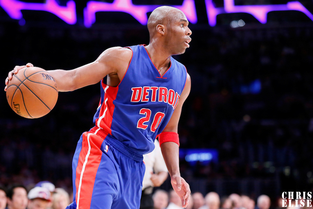 10 March 2015: Detroit Pistons guard Jodie Meeks (20) dribbles during the Los Angeles Lakers 93-85 victory over the Detroit Pistons, at the Staples Center, Los Angeles, California, USA.