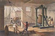 Rolls of cable at Gutta-percha (rubber) Works  From WH Russell 'The Atlantic Telegraph' London 1866. Tinted lithograph