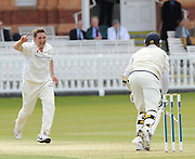 London GREAT BRITAIN, Left, Glamorgans', Ryan WATKINS, runs in, finger pointed as he celebrates Middlesexs', Owais SHAH's wicket, after wicketkeeper, Mark WALLANCE hangs on to the catch, during the LV. County Championship Cricket match, Middlesex vs Glamorgan, Lord's Cricket Ground, St John's Wood, 23.04.2008 [Mandatory Credit Peter Spurrier/Intersport Images]