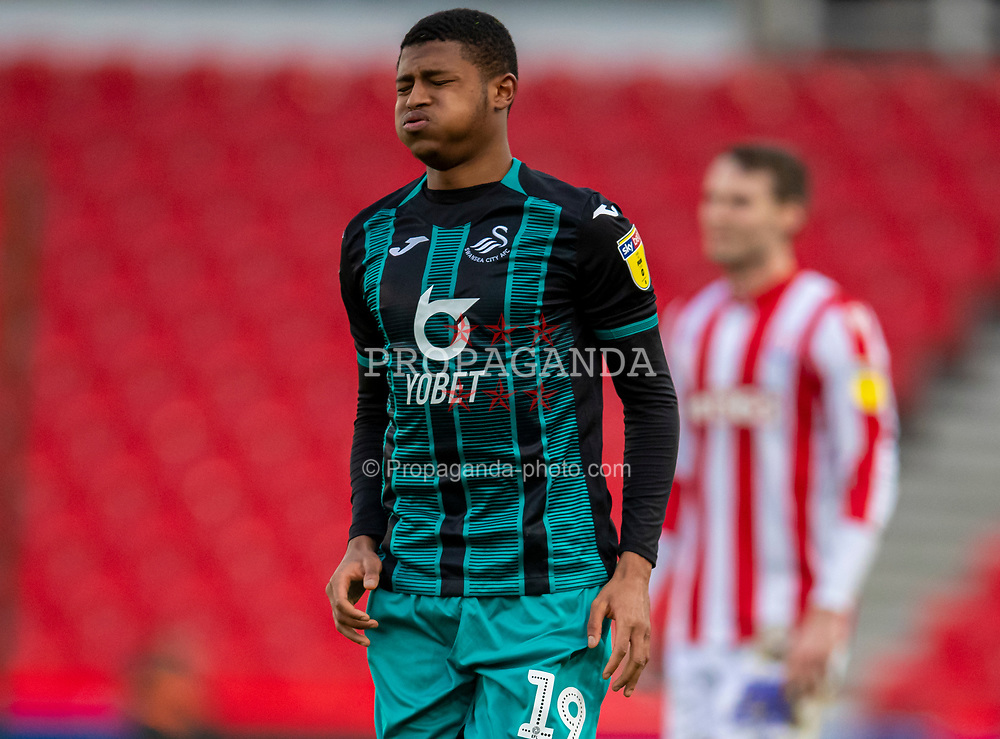 STOKE-ON-TRENT, ENGLAND - Saturday, January 25, 2020: Swansea City's Rhian Brewster reacts during the Football League Championship match between Stoke City FC and Swansea City FC at the Britannia Stadium. (Pic by David Rawcliffe/Propaganda)