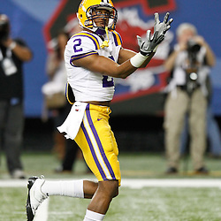 Dec 3, 2011; Atlanta, GA, USA; LSU Tigers wide receiver Rueben Randle (2) prior to kickoff of a game Georgia Bulldogs during the 2011 SEC championship game at the Georgia Dome.  Mandatory Credit: Derick E. Hingle-US PRESSWIRE