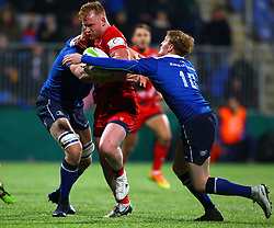 Will Hurrell of Bristol United is tackled by Cathal Marsh and Ross Molony of Leinster - Mandatory by-line: Ken Sutton/JMP - 15/12/2017 - RUGBY - Donnybrook Stadium - Dublin,  - Leinster 'A' v Bristol United -