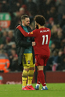 Football - 2019 / 2020 Premier League - Liverpool vs. Southampton<br /> <br /> Liverpool's Mohamed Salah speaks with Southampton's Danny Ings after the end of the match<br /> <br /> Colorsport / Terry Donnelly