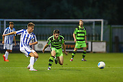 Cheltehham Town's Jordan Lymn and Forest Green Rovers Louis McGrory (22) during the Gloucestershire Senior Cup match between Forest Green Rovers and Cheltenham Town at the New Lawn, Forest Green, United Kingdom on 20 September 2016. Photo by Shane Healey.