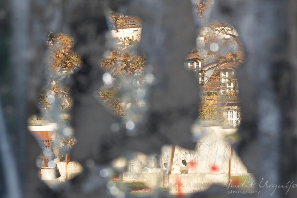 The Berlin Wall Memorial it´s reflected in a broken mirror
