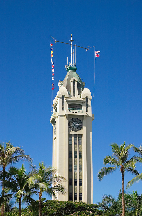 Aloha Tower, the historic landmark where cruise ships dock at Honolulu Harbor; downtown Honolulu, Oahu, Hawaii. .