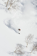 Alex Yoder, powder slash in the Moiwa backcountry. It would start snowing again soon thereafter. Niseko, Hokkaido, Japan.