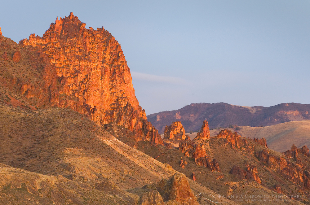 Spires and rock formations made of volcanic tuff in Leslie Gulch in the Owyhee Uplands of SE Oregon