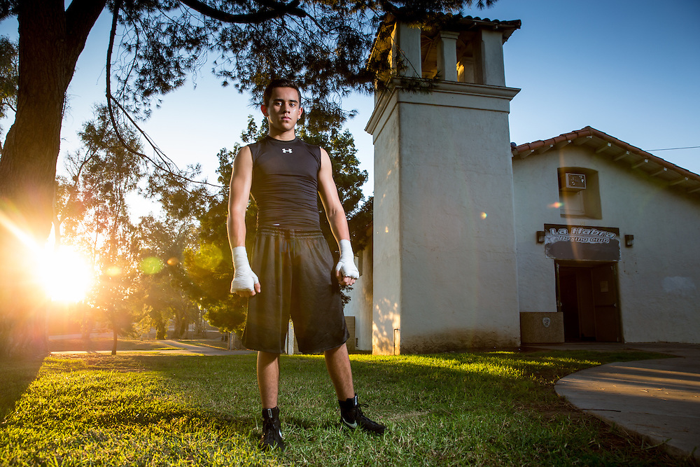 Jordan Montoya stands in front of the former church that now hosts the La Habra Boxing Club.  Sports Shooter Academy XI:  La Habra Boxing Club on November 06, 2014 at La Habra in La Habra CA, USA.  Photo credit: Jason Tanaka