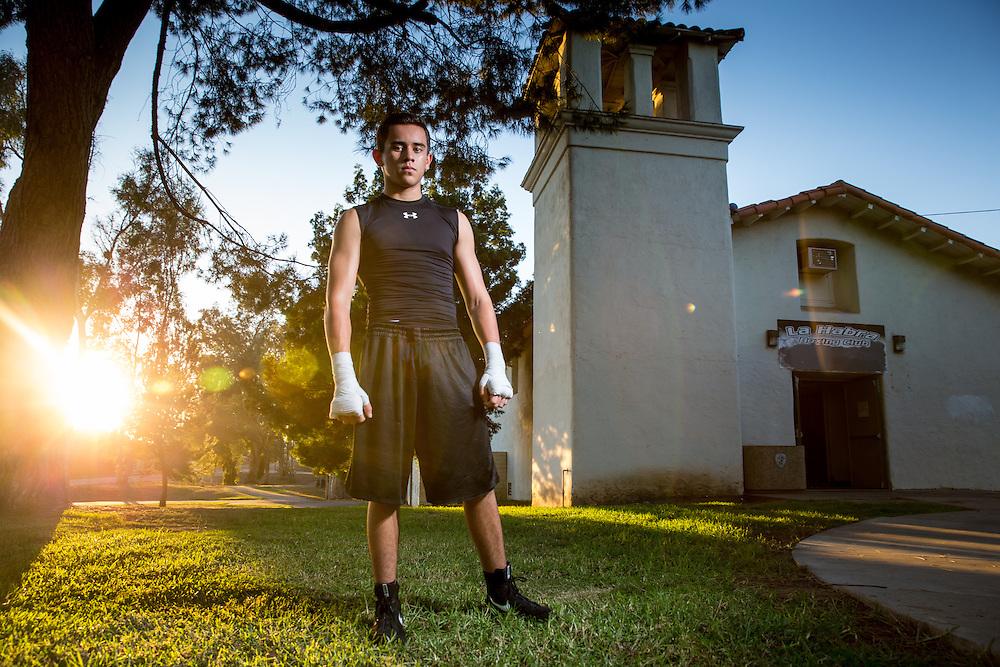 Jordan Montoya stands in front of the former church that now hosts the La Habra Boxing Club.  Sports Shooter Academy XI:  La Habra Boxing Club on November 06, 2014 at La Habra in La Habra CA, USA.  Photo credit: Jason Tanaka