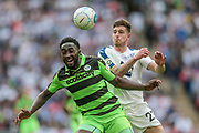 Cole Stockton (Tranmere Rovers) challenges Manny Monthe (Forest Green Rovers) for the ball during the Vanarama National League Play Off Final match between Tranmere Rovers and Forest Green Rovers at Wembley Stadium, London, England on 14 May 2017. Photo by Mark P Doherty.