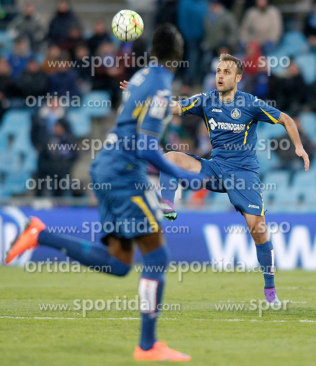 27.02.2016, Estadio Balaidos, Vigo, ESP, Primera Division, Getafe CF vs RC Celta, 26. Runde, im Bild Getafe's Juan Cala // during the Spanish Primera Division 26th round match between Getafe CF and RC Celta at the Estadio Balaidos in Vigo, Spain on 2016/02/27. EXPA Pictures &copy; 2016, PhotoCredit: EXPA/ Alterphotos/ Acero<br /> <br /> *****ATTENTION - OUT of ESP, SUI*****