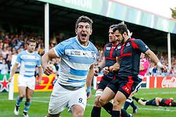 Argentina Scrum-Half Tomas Cubelli celebrates scoring a try - Mandatory byline: Rogan Thomson/JMP - 07966 386802 - 25/09/2015 - RUGBY UNION - Kingsholm Stadium - Gloucester, England - Argentina v Georgia - Rugby World Cup 2015 Pool C.