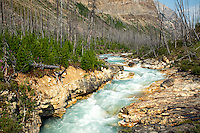 Turquoise waters flow into Marble Canyon in Kootenay National Park,  British Columbia