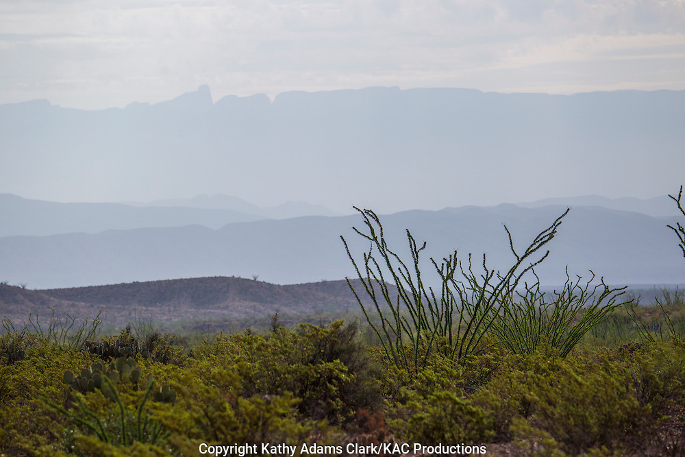 Layered Sierra del Carmen mountains in Big Bend National Park, Texas. Vantage point is mid-morning from road to Dugout Wells in Big Bend National Park, Texas.