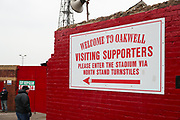 Visiting supporters sign outside Oakwell before the EFL Sky Bet League 1 match between Barnsley and Portsmouth at Oakwell, Barnsley, England on 15 December 2018.