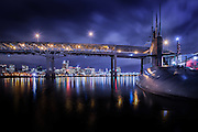 The USS Blueback with the Marquam Bridge and Portland skyline. You can tour the USS Blueback at Portland's OMSI.