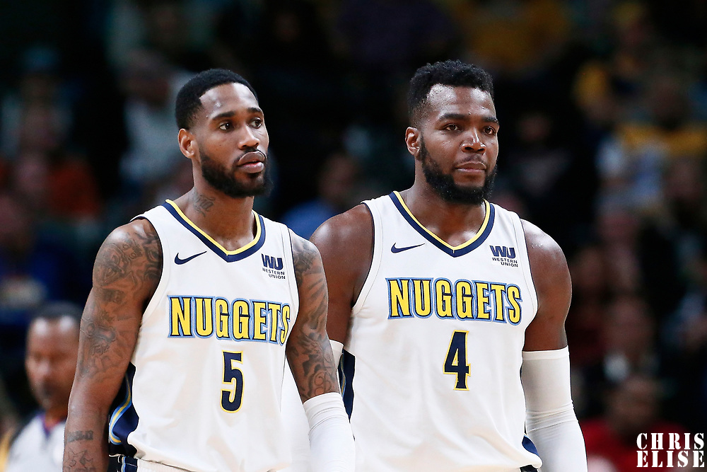 03 April 2018: Denver Nuggets forward Will Barton (5) is seen next to Denver Nuggets forward Paul Millsap (4) during the Denver Nuggets 107-104 victory over the Indiana Pacers, at the Pepsi Center, Denver, Colorado, USA.