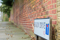Royal mail street sign project World Book Day - London. Byron Drive, Hampstead, London, February 21 2018.