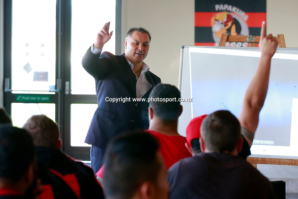 A group of providers present to the Counties Manukau Steelers Rugby team, Massey Park, Papakura, Thursday 11th September 2014. Photo: Shane Wenzlick / www.photosport.co.nz