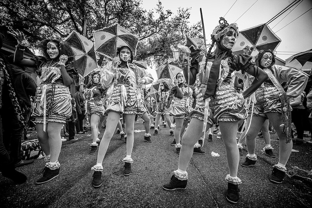 Members of the New Orleans Baby Doll Ladies pose in the Zulu Social Aid & Pleasure Club's 'Zulu Parade' on Jackson Avenue, the first parade on the morning of Mardi Gras Day on February 12, 2013 in New Orleans, Louisiana.