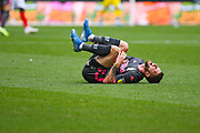 Mateusz Klich of Leeds United (43) down injured as play continues during the EFL Sky Bet Championship match between Bristol City and Leeds United at Ashton Gate, Bristol, England on 4 August 2019.