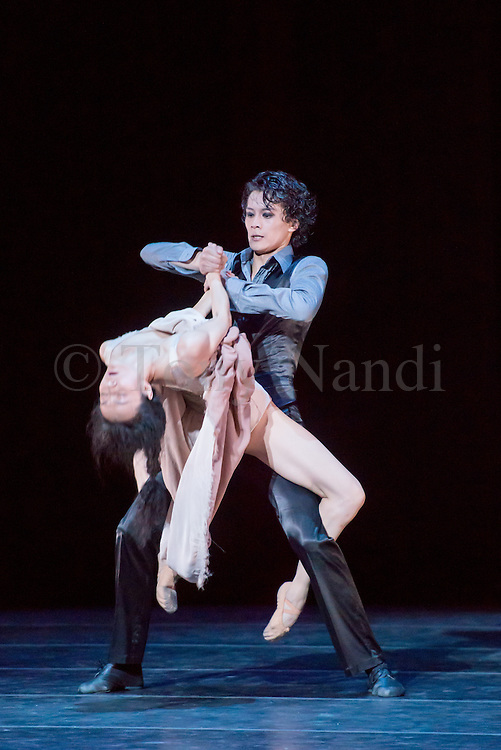 14/08/2013. Shanghai Ballet Company make their highly anticipated UK debut with performances of Jane Eyre, an original, innovative ballet production choreographed by Patrick de Bana. Picture shows: Fan Xiaofeng (Bertha) & Wu Husheng (Rochester).