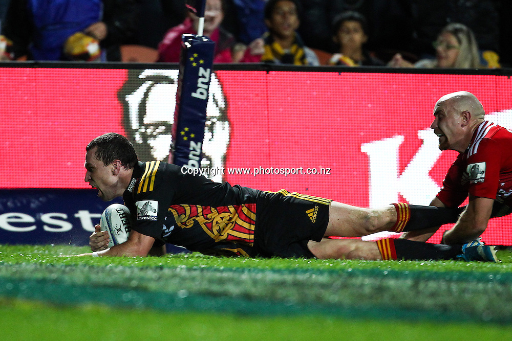 Chiefs' Tom Marshall scores shortly before half time during the Super 15 Rugby match - Chiefs v Crusaders at Waikato Stadium, Hamilton, New Zealand on Saturday 19 April 2014.  Photo:  Bruce Lim / www.photosport.co.nz